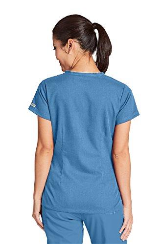 Grey's Anatomy Women's 3 Pocket V-Neck Tonal Stitch Scrub Top, Ciel Blue, Large by Barco (Image #2)