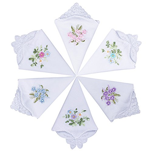 60s Linen (Ecseo Women's Hankies Handkerchiefs Embroidered 100% 60S Cotton with Lace for Ladies Soft - 12 Pack)