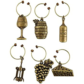 Grapevine Vineyard Wine Charms by Twine - (Set of 6 charms)