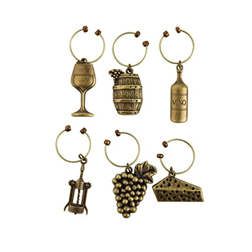 Twine Grapevine Vineyard Wine Charms by (Set of 6 charms) by Twine
