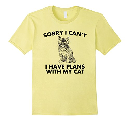 Mens Sorry I can't I Have Plans With My Cat Mens Ladies T-Shirt Large Lemon Base Plan
