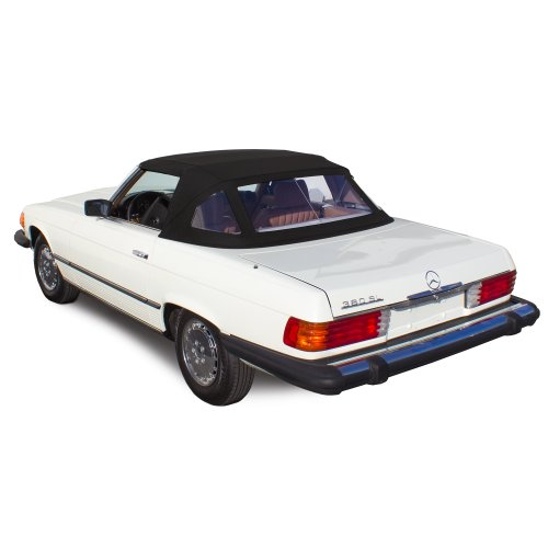 Mercedes Benz SL R107 1972-1989 Complete Convertible Top with 3 Plastic Windows and Stayfast Cloth Black
