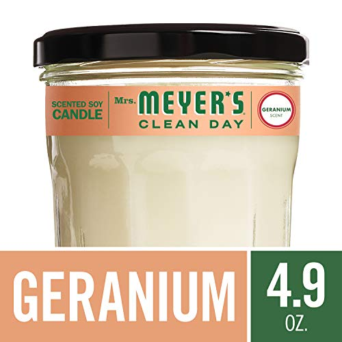 Mrs. Meyer's Clean Day Scented Soy Candle, Small Glass, Geranium, 4.9 - Floral Soy Candle