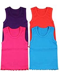 fcce354dcee29e Girl s 4 Pack Ruffle Hem Cotton Tank Tops