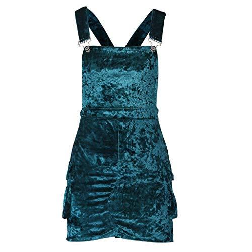 (YY1950s Women's Europe and America Women's Sexy Ice Velvet Three-Dimensional Pocket Strap Fashion Solid Color Sleeveless Shirt Mini Summer Sling Dress Mini Skirt (Green, M))