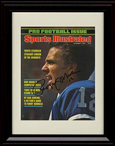 Framed Roger Staubach Autograph Replica Print - 1978 Sports Illustrated - Sports Illustrated Cover 1978