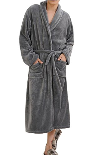 Cheap Fensajomon Mens Thick Cozy Fleece Flannel Soft Lounge Homewear Robe Kimono Bathrobe free shipping