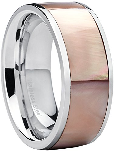 Metal Masters Co. Flat Top Stainless Steel Women's Pink Mother of Pearl Wedding Ring Fashion Band 8 by Metal Masters Co.