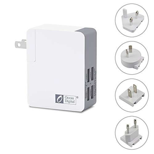 Ocean Digital USB Charger 4 Port Wall Charger with UK US EU AUS Portable Travel Charger Universal Power Adapter converter for Mobile Phone Tablet Apple iPhone iPad Samsung Galaxy Smartphone - White by Ocean Digital