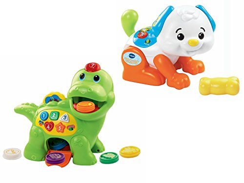 VTech Chomp & Count Dino and VTech Shake & Sounds Puppy Educational/Learning Toys for Toddlers Bundle
