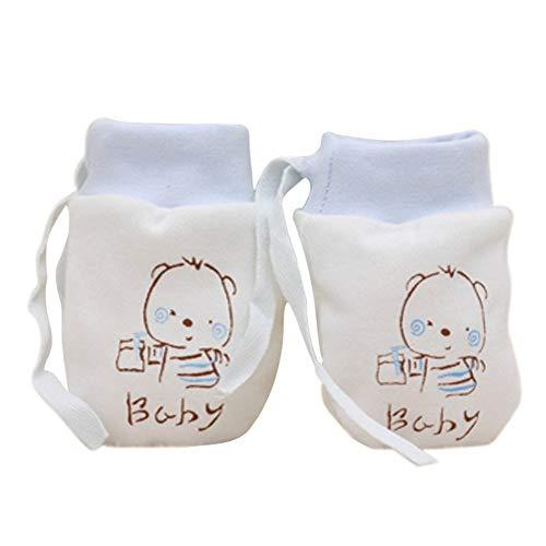 - ❤️ Mealeaf ❤️ 1 Pairs Cute Baby Infant Anti Scratch Mittens Soft Newborn Rope Gloves BU(Blue,)