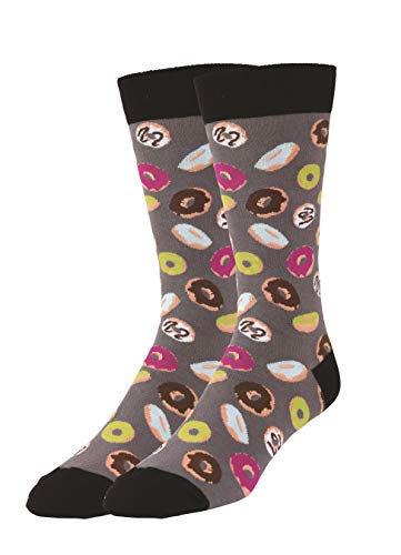 K. Bell Men's Food and Drink Casual Novelty Crew Socks, Donuts (Grey), Shoe Size: 6-12 (Dunkin Donuts Chocolate Glazed Donut Coffee Nutrition)