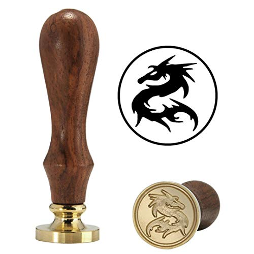 RESELWXST 1Pc Brass Head Wooden Handle Dragon Wax Seal Stamp Letter Card Decoration Gift Cat/Dog/Halloween Bat/Tree/Dragon as picture4