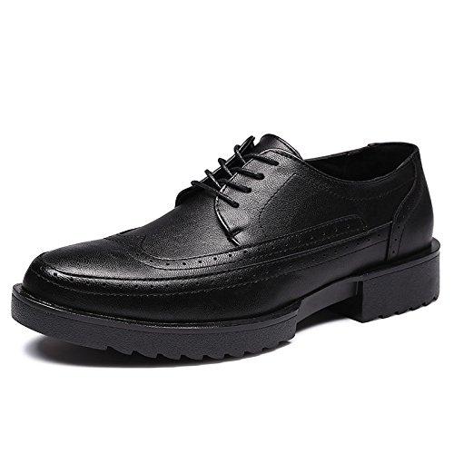 De Cuero Hombre Black Cabeza LQV Zapatos con Goma Las Plantas A Nuevos Baja Antideslizantes Bullock Gruesa Redonda De para A Ayudar De Zapatos Suela Usar FnE0H