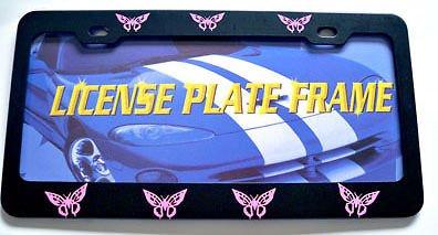 Moon Butterflies Butterfly Pink Steel License Plate Frame Perfect for Men Women Car garadge Decor