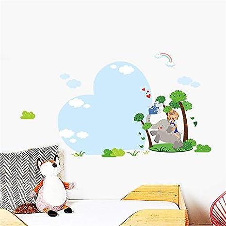 Animales del bosque elefante niños felices cielo amor árbol ...