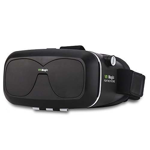 Musttrue 3D Panda VR Headset Technology - Best Virtual Reality Experience For Games & Video -HD With Your Smartphone Fit Glasses & Helmet - Goggles for For Your iPhone & Android Smartphones (black)
