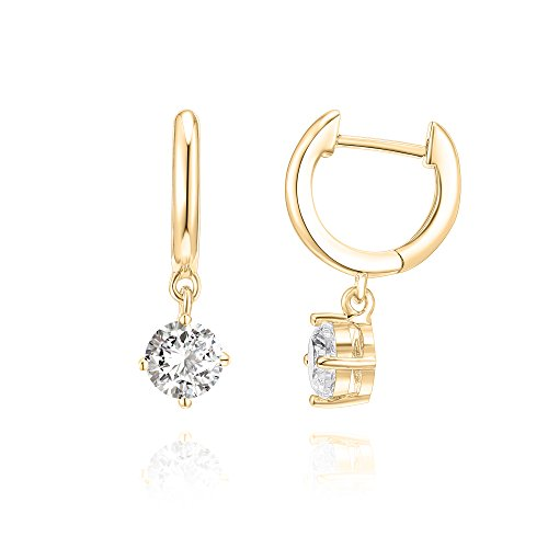 Huggie Childrens Earrings - PAVOI 14K Gold Plated CZ Ear Huggie Drop Earring - Yellow