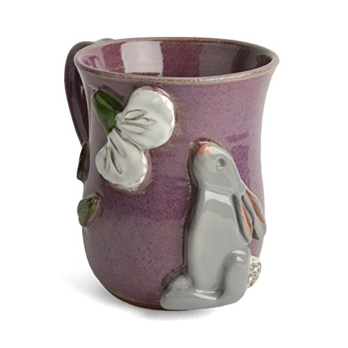 MudWorks Pottery Bunny with Poppy Mug (Pottery Tableware)