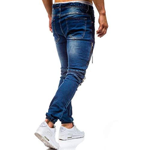 Fit 11 Da Denim blue Distrutti Strappati Con Uomo Casual Puro Buchi Cotone Jeans Battercake Pantaloni Comodo In Slim qFwqaE