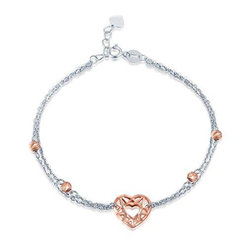 585or blanc et rose 14ct Cœur en filigrane avec perle bracelet longueur de 17,5cm/16,5cm, Bijoux Cadeau pour Femme