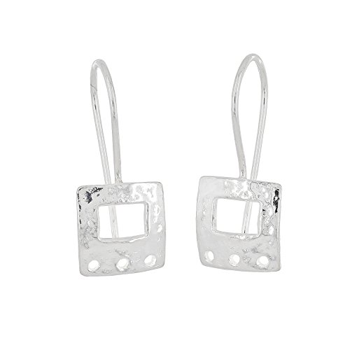Sterling Silver Hammered Square French Hook Ear Wire Earrings Connctor with - French Silver Hammered Sterling Wire