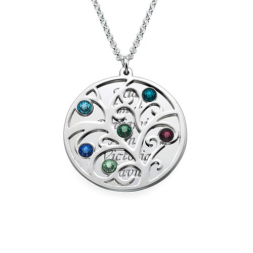 Sterling Silver Filigree Family Tree Birthstone Pendant Necklace - Custom Made with Any Name! (20 Inches, 4 inscriptions - 4 birthstones)