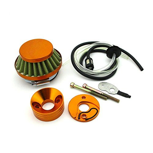 TC-Motor Gold Scooter Air Filter + Stack Adapter + Fuel Hose For 23 33cc 43cc Big Foot Blade Goped 47cc 49cc Pocket Bike ATV Dirt -