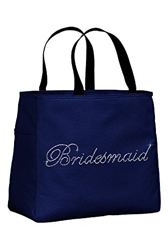 Zynotti Bridesmaid Rhinestone Embellished Navy Blue Tote Bag for Wedding Shower, Bachelorette Party, or Wedding day