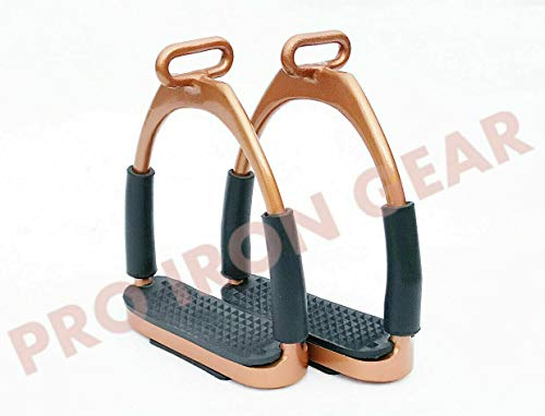 "Rose Gold Offset Horse Flexible Safety Stirrups (4.75"") Riding Bendy Iron Steel"