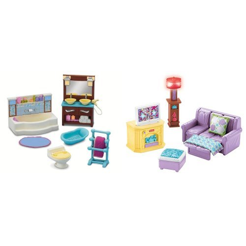 Fisher Price Loving Family Bathroom and Family Room Bundle