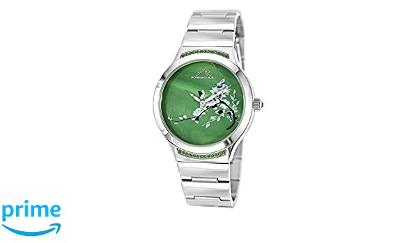 Amazon.com: Porsamo Bleu Luxury Carmen Stainless Steel Silver Tone and Green Womens Watch 991ACAS: Watches