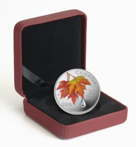 2009 Canada Colorized $20 Pure Silver Maple Leaf - Autumn Showers Swarovski Crystal Raindrop (2009 Canadian Maple Leaf)