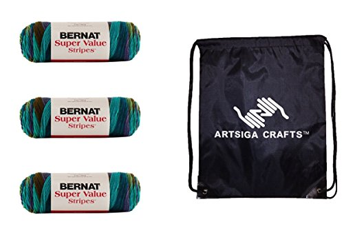 Bernat Super Value Stripes Yarn (3-Pack) Jungle Green 164173-73004 Bundle with 1 Artsiga Crafts Project Bag