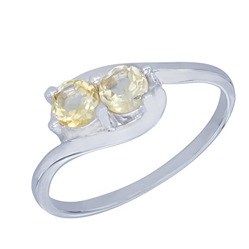 Caratera Womens Rings Adorable Natural Citrine Gemstone Sterling Silver Round Shapes Jewelry Womens Ring ()