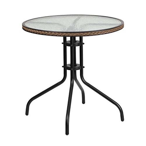 Flash Furniture 28'' Round Tempered Glass Metal Table with Dark Brown Rattan Edging (Patio Glass Table Round)