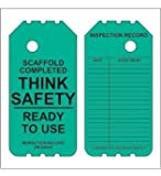 """Scaffold Tags- 25 Green 6"""" Disposable Plastic Tags- """"Ready for Use"""""""