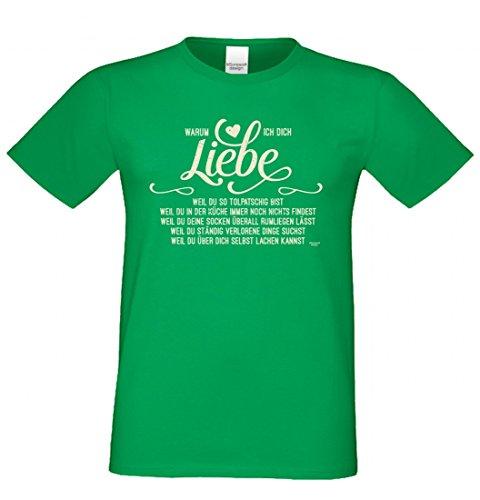 Outfit für Verliebte - Warum ich dich liebe - Tollptasch - T-Shirt mit Motiv als romantisches Geschenk - in Hell-Grün