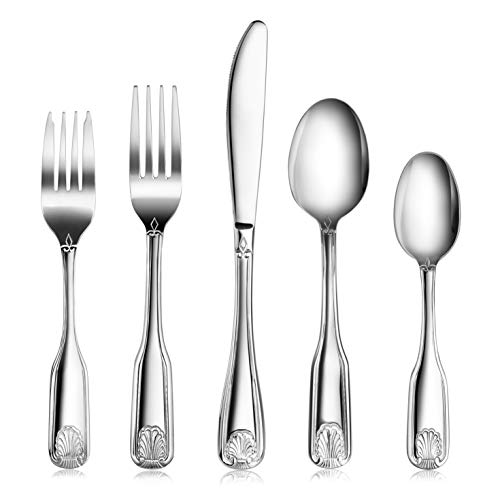 New Star Foodservice 58918 Shell Pattern, Stainless Steel, 60 piece Flatware Set (Reed And Barton Everyday Stainless Steel Flatware)