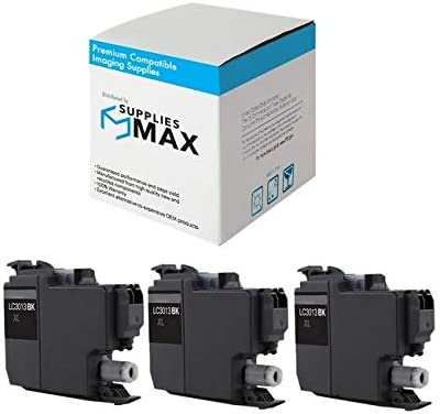 SuppliesMAX Compatible Replacement for Brother DCP-J572//J772//J774//MFC-J491//J497//J690//J890//J895DW Black High Yield Inkjet LC-3213BK/_3PK 3//PK-400 Page Yield