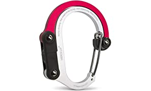 Non-Locking Carabiner Rotating Hook Clip - Strong Clips for Camping, Fishing, Hiking, Travel, Backpacking & Outdoor Adventure. Aluminum D Shape Hooks by Heroclip