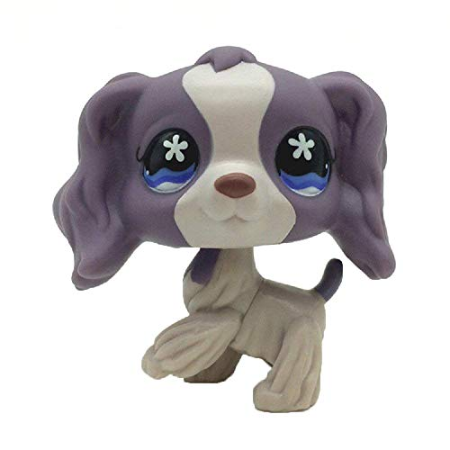 Rare Pet Shop Purple Cocker Spaniel Dog Puppy Blue Eyes LPS #1209 Toy for Kids Gift 1pc (Purple) -