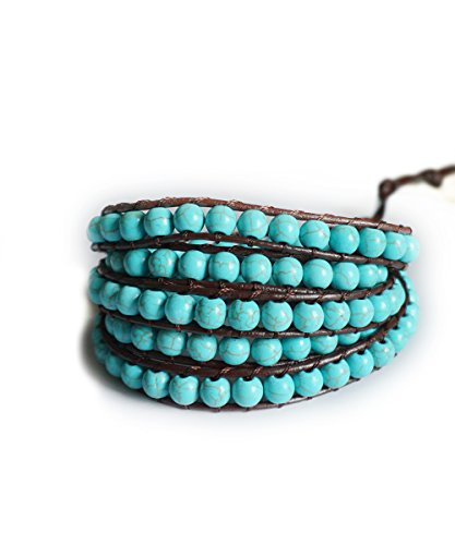 (Brown Genuine Leather Wrap Turquoise Aqua Beaded Wrap 23 or 34 Inch Small Large Bracelet Fashion Bohemian Boho Style Jewelry (23 Inches))