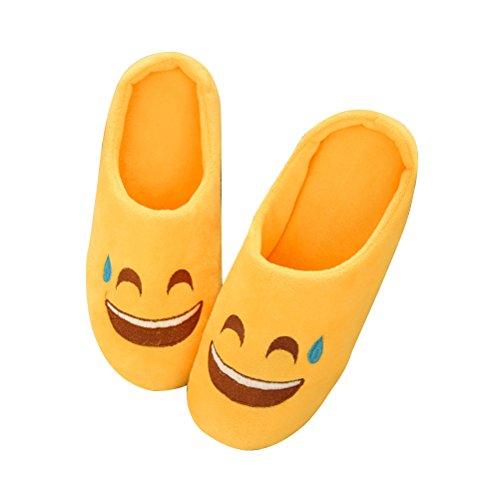 Homme chaudes Femme Jaune Antidérapant Chaussons pantoufles Chaussons intérieure en Chaussons Pantoufles d'hiver Tinksky Doux peluche mignonne qagaStwOn