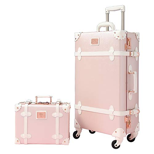 """Travel Vintage Luggage Sets Cute Trolley Suitcases Set Lightweight Trunk Retro Style for Women Elegant Pink 20"""""""