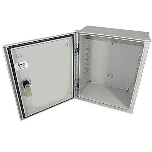 Altelix 12x10x6 FRP Fiberglass NEMA 3X Box Weatherproof Enclosure with Hinged Lid & Quarter-Turn Latch