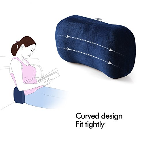 Portable Memory Foam Camping Pillow Travel Pillow Ergonomic Sleeping Bed Pillow for Good Night Sleep Cervical Curved Neck Support for Travel Camping Hiking Car Seat Plane Lumbar Support16.5LX7.8W