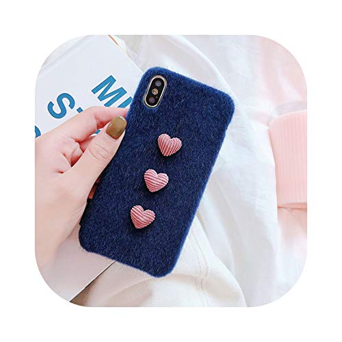Soft Leopard Love Heart Decor Horse Hair Phone Case for iPhone 7 8 6 6S Plus Cover for iPhone Xs Max X Xr Luxury Case Cover,Blue,for iPhone 7 Plus