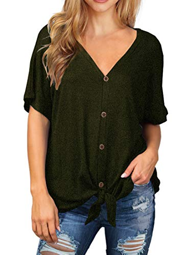 IWOLLENCE Womens Waffle Knit Tunic Blouse Tie Knot Short Sleeve Henley Tops Loose Fitting Bat Wing Shirts Army Green M