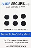 Surf Secure Webcam Cover (7 Pack) - Silicone MicroSuction Reusable Web Camera Blocker to Protect Your Privacy, for Your iPhone, iPad, Surface, Tablet, Laptop, Cell Phone, Alexa, Google Home